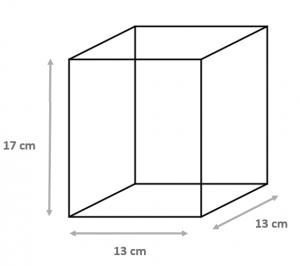 Schéma d'une panière carrée de 13*13*17 cm